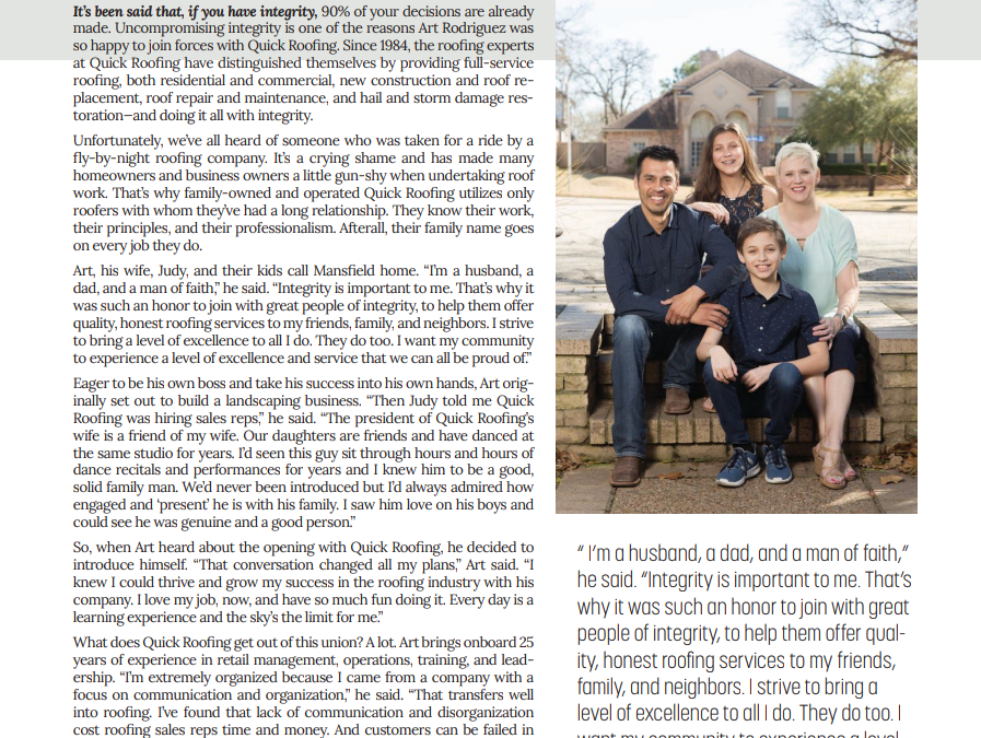 Quick Roofing's Art Rodriguez is featured in an article of Living Magazine